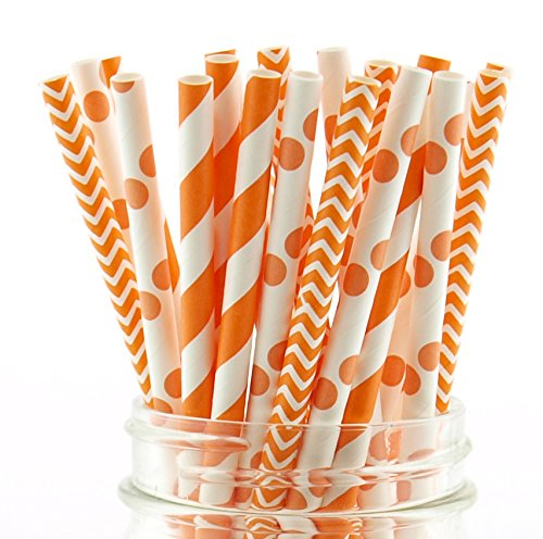 (Autumn Fall Party Straws, Orange & White Straws, Paper Wedding Straws, Mason Jar Party Supplies (75 Pack) - Fall Orange Striped, Polka Dot & Chevron)
