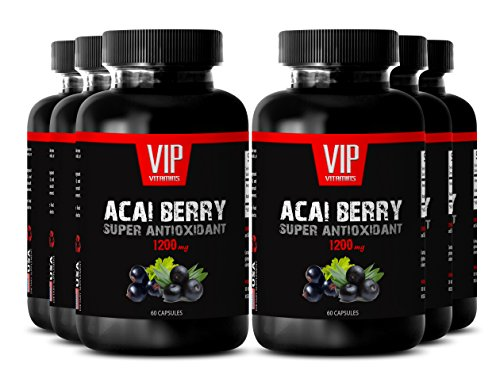 Acai berry herbal - ACAI BERRY SUPER ANTIOXIDANT EXTRACT 1200 MG - Energy booster - 6 Bottles 360 Capsules by VIP VITAMINS