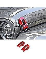 Hoolcar Hood Latch Lock Catch Brackets Cover for 2018-2021 Jeep Wrangler JL JLU & 2020-2021 Gladiator JT, Red