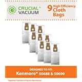 9 HEPA Allergen Cloth Bags for Kenmore Vacuums; Compare to Kenmore Part Nos. 20-5068, 20-50681, 20-50688, 20-50690; Panasonic Part No. U-2; Designed & Engineered by Think Crucial