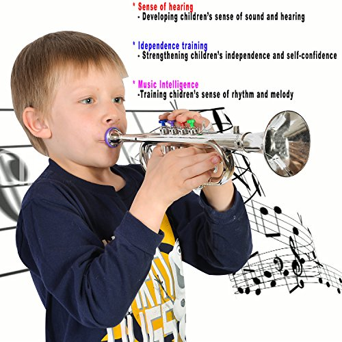 Playboom Toys Metallic Silver Trumpet Toy Horn with 4 Colored Keys for Kids - Children Play Musical Instruments Toys for (Make Maleficent Horns)