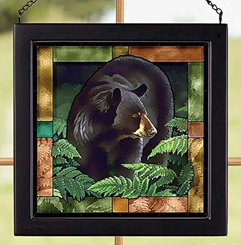 Darby Creek Trading Black Bear in Woods Stained Glass Art Square Hanging Panel