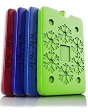 TREKPROOF Ice Packs for Lunch Boxes (4-Piece Set) | Reusable Freezer and Cold Travel | Bento Lunchbox, Cooler Bag for Work, School, Picnic or Camping | Colorful & Kid Friendly