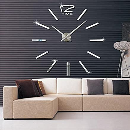 Sellify Black 2017 3D Real Big Wall Clock Rushed Mirror Sticker Diy Living Room Decor