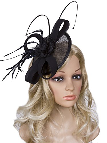 b597a5dce43 Vijiv Women Vintage Derby Fascinator Hat Pillbox Headband Feather Cocktail  Tea Party