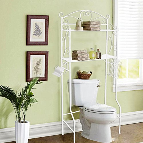 VDOMUS Bathroom Space Saver Storage Over the Toilet Wire Shelf Shelves, White (Bathroom Over Space Saver Toilet White)