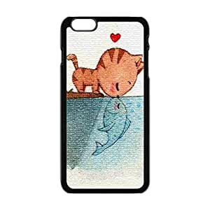 "Danny Store Hardshell Cell Phone Cover Case for New iPhone 6 Plus (5.5""), Cat Kiss Fish"