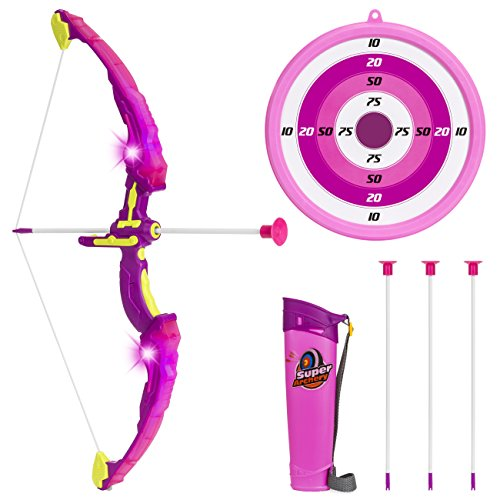 Best Choice Products Light Up Archery Toy Play Set with Suction Cup Arrows, Holder, Target, Pink