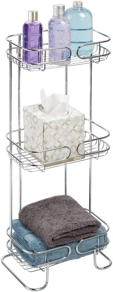 mDesign Rectangular Metal Bathroom Shelf Unit - Free Standing Vertical Storage for Organizing and Storing Hand Towels, Body Lotion, Facial Tissues, Bath Salts - 3 Shelves - Chrome