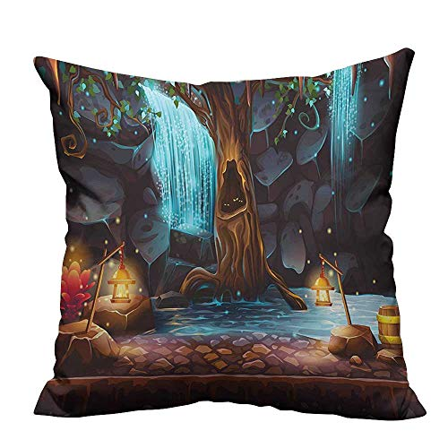 YouXianHome Household Pillowcase Enchanted Forest with Cave Waterfall and Magic Tree Barrel of Gold Elf Image Perfect for Travel(Double-Sided Printing) 26x26 inch -