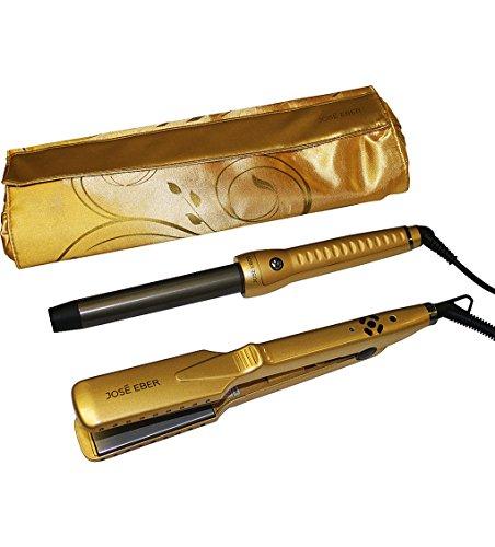 Jose Eber Gift Set, Gold Color, 25mm Curling Iron, 1.25'' Ceramic Straightener, Travel Case, Dual Voltage 110V-240V by Jose Eber