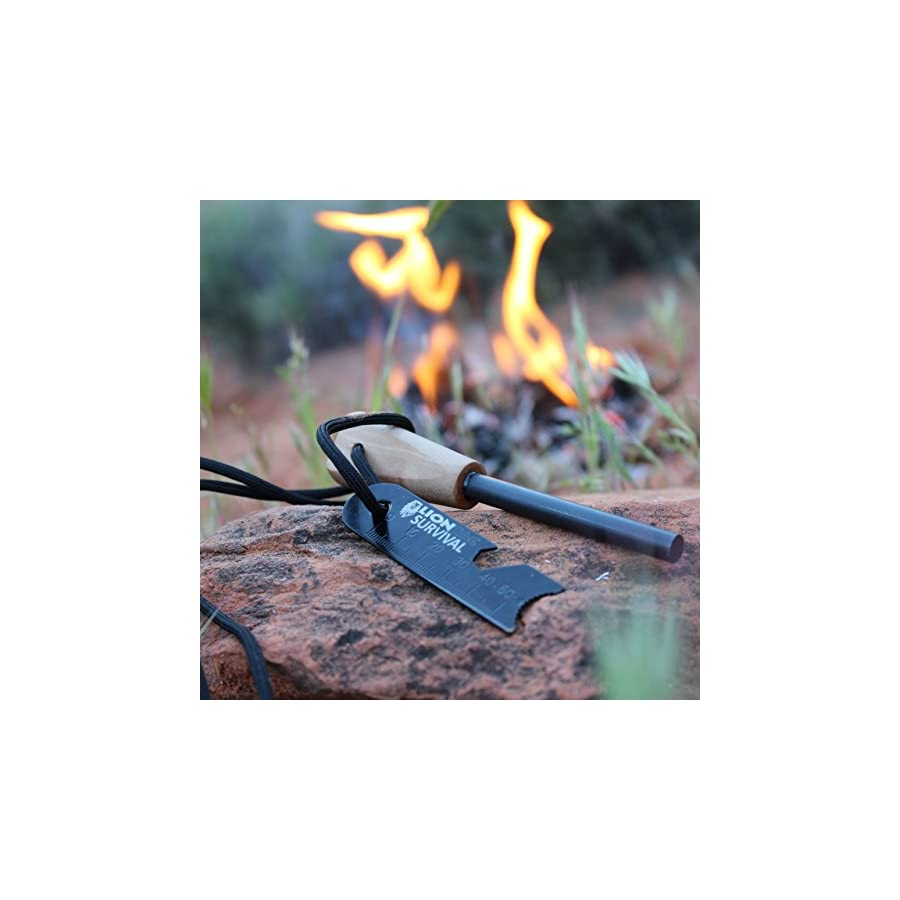 LionTac Survival Fire Starter Flint & Steel Striker for Bushcraft and Emergency, Firesteel Magnesium That is 5/16 inches Thick, Waterproof Ferro Rod with Custom Wood Handle and Necklace Paracord