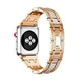 Tiean NEW Stainless Steel Watch Bracelet Band Strap For Apple Watch Series 3 38MM (Rose Gold)