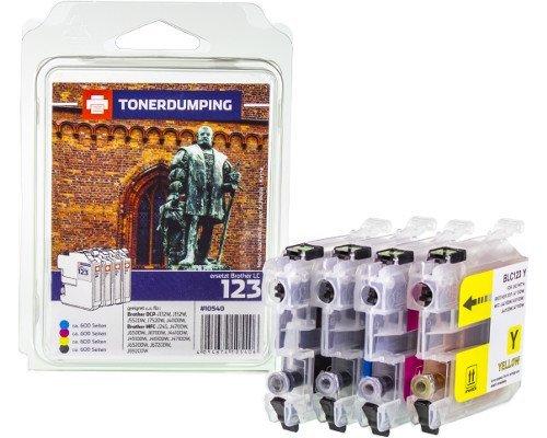 4 Tonerdumping-Druckerpatronen Multipack kompatibel zu Brother LC-123VALBP je 1x schwarz, Cyan, Magenta, gelb