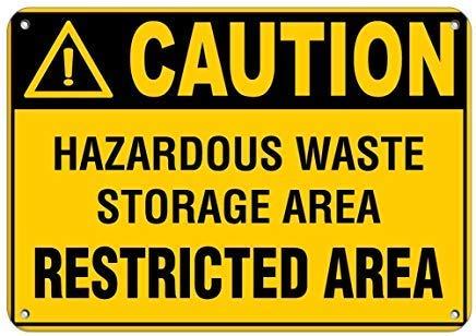 WallAdorn Caution Hazardous Waste Storage Area Restricted ...