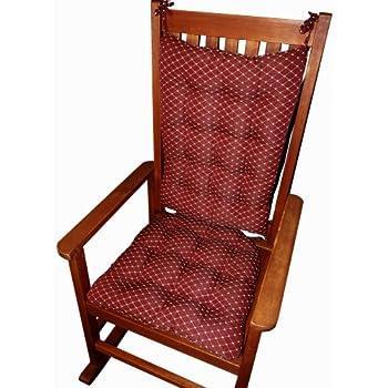 Rocking Chair Cushions   Tiffanie Wine Red Brocade   Size Extra Large    Latex Foam
