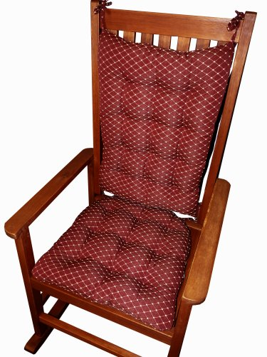 Rocking Chair Cushions - Tiffanie Wine Red Brocade - Size Standard - Latex Foam Fill - Diamond Pattern