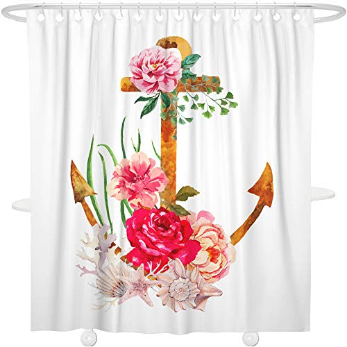 Nautical Coral Anchor - Bonsai Tree Nautical Shower Curtain Anchor Coral Seashell Bathroom Decoration Decor Waterproof and Mildew Resistant Polyester Floral Bath Curtain with Hooks,72x72