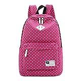 Win8Fong Girls' Polka Dots Canvas TravelBag School Backpack