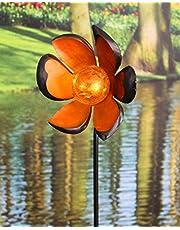 Kamaca Solarna lampa ogrodowa XL LED z prętem metalowym z podświetlaną kulą akrylową z 1 ambrami LED, z kołkiem do wbijania w ziemię