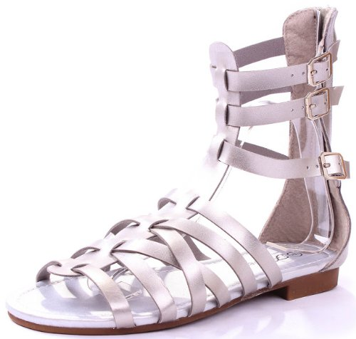 Atta4 Sliver Leatherette Buckles Strappy Roman Gladiator Mid-calf Comfort Flat Sandals-10