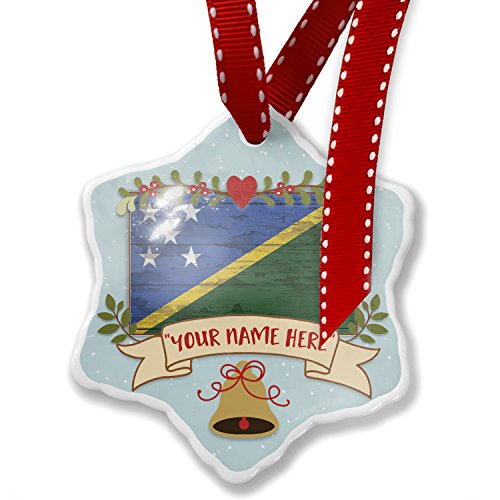 - NEONBLOND Add Your Own Custom Name, Flag on Wood Solomon Islands Christmas Ornament