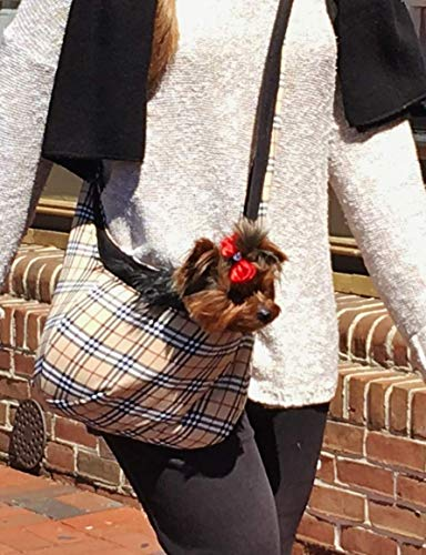 Furberry Tan Plaid PET DOG SLING CARRIER - Cozy Warm Famous Designer British **FREE fast SHIPPING**