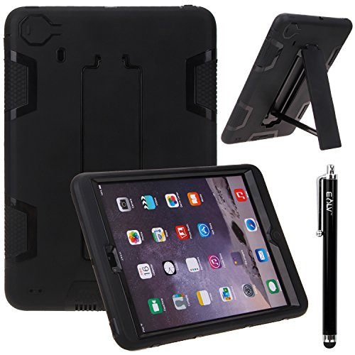 iPad Mini Case, E LV iPad Mini 3 Case Cover - Shock-Absorption / High Impact Resistant Hybrid Dual Layer Armor Defender Full Body Protective Case Cover with 1 Screen Protector AND 1 Stylus [Compatible with iPad Mini / iPad Mini 2 / iPad Mini 3] - BLACK / BLACK