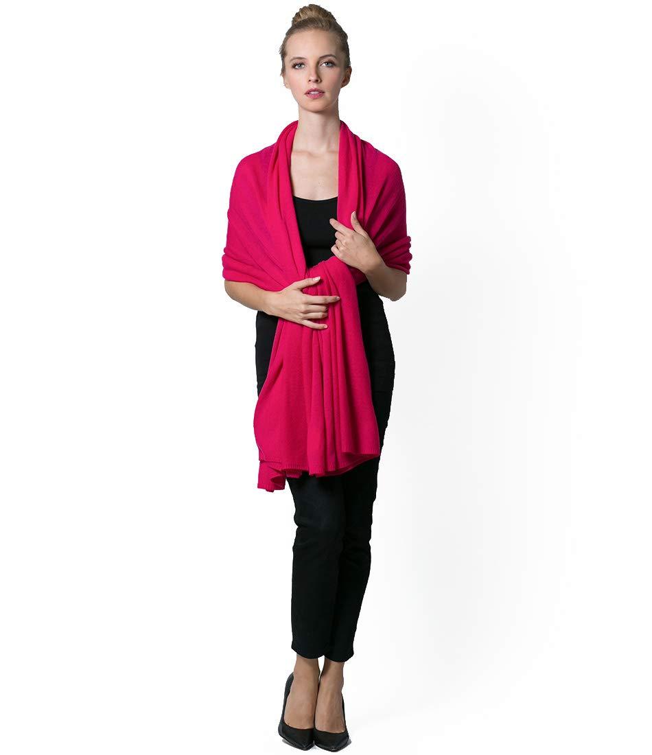 Super Soft Oversized 100% Cashmere Travel Blanket Scarf Wrap - Dragon Fruit Pink