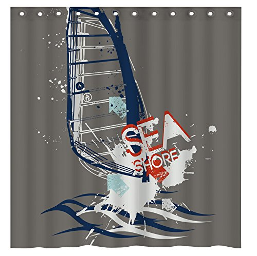 sailing sports Waterproof Polyester Fabric Bath Shower Curtain?66-Inch by 72-Inch