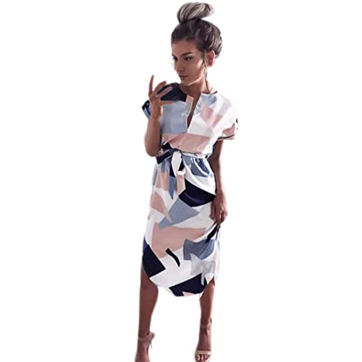 f22a6829979 Womens Dresses Summer Casual V-Neck Floral Print Geometric Pattern ...
