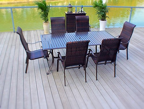 Pebble Lane Living 7pc Cast Aluminum and Wicker Stacking Patio Furniture Set -