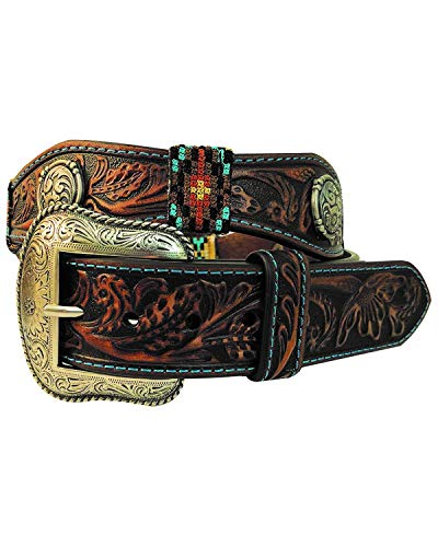 Roper Men's Scalloped Round Dome Concho Tooled Buckle Belt Brown 36