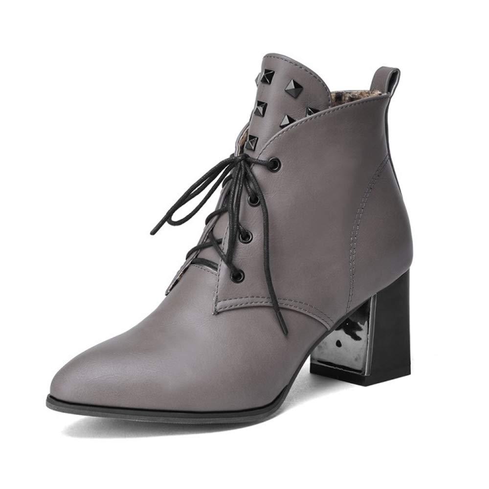 CITW Herbstliche Damenstiefel Rivet High Heels Stiefel Großformat Damenstiefel Mit Martin Stiefel Warme Stiefel,grau,UK5 EUR39