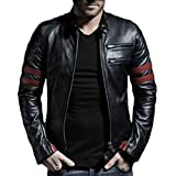 Bodyfit Men's Leather Jacket (STRIPEM__Medium)