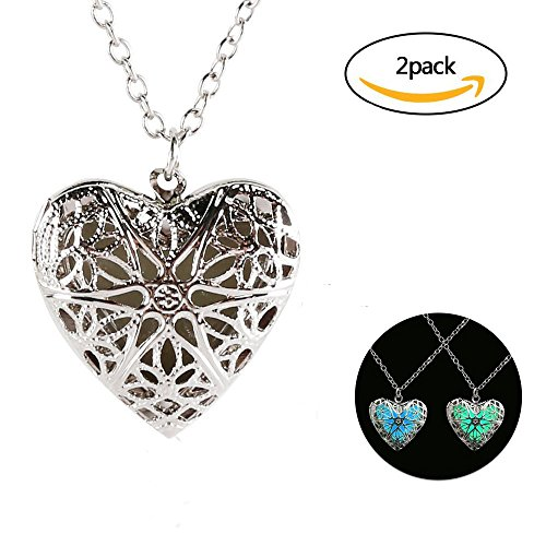 2Pcs Luminous Love Heart Pendant Fluorescent Necklace Glow in the Dark Pendant