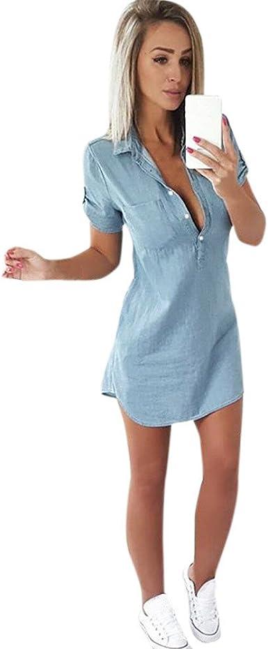Dress for Women,JFLYOU Short Sleeve Button Solid Denim Dresses Turn Down Collar Mini Dress