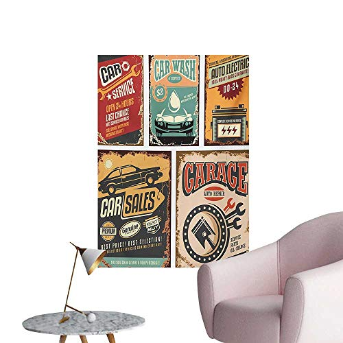 Vintage Poster Wall Decor Nostalgic Art Auto Service Garage Funk Style Highway Logo Repair Road Grunge DesignMulticolor W20 xL28 Cool Poster]()