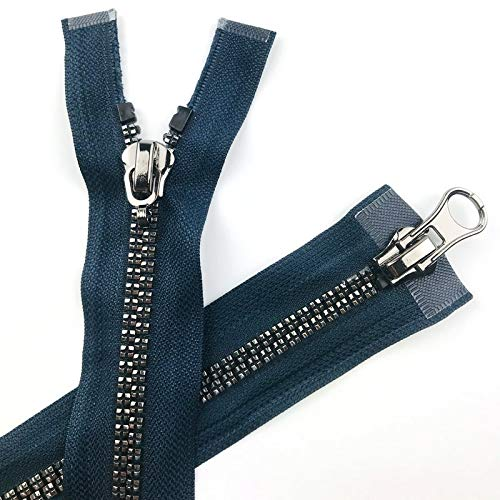 xinchenglove No. 8 Resin Plum Blossom Zippers for Sewing Bright Silver Teeth Double Tail 120CM Down Jacket Zipper Fashion Accessories 1pcs/5pcs/10pcs AQ021 (Navy,10pcs 120cm) by xinchenglove