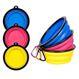 PetBonus 3-Pack Extra Large Silicone Collapsible Dog Bowl (4 Cups,34oz), BPA Free Dishwasher Safe, Portable Foldable Travel Bowl, Camping Bowls for Dogs and Cats - 3-Color Carabiners per Set