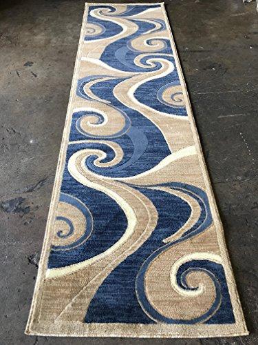 Beige Modern Rug - Americana Modern Long Runner Area Rug Blue Beige Swirl Design 144 (32 inch X 10 feet)