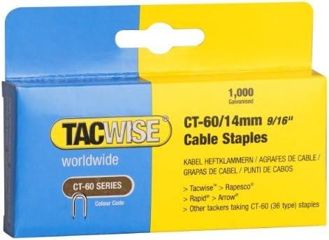Boîte de 1000 Tacwise Blanc CT-60//10mm Câble Agrafeuse Staples