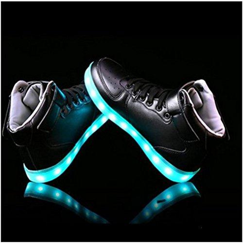[Present:kleines Handtuch]JUNGLEST® 7 Farbe Lackleder High Top USB Aufladen LED Leuchtend Sport Schuhe Sportschuhe Sneaker Turnschuhe für Unisex-Erwachsene H High Top mit Velcro Schwarz