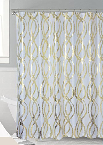 Luxurious Bold Metalic Moroccan Trellis Shower Curtain Set with 12 Hooks 72