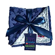 Reversible Unisex Children's Soft Baby Blanket Minky Dot (Choose Color) (Blue/Light Blue)