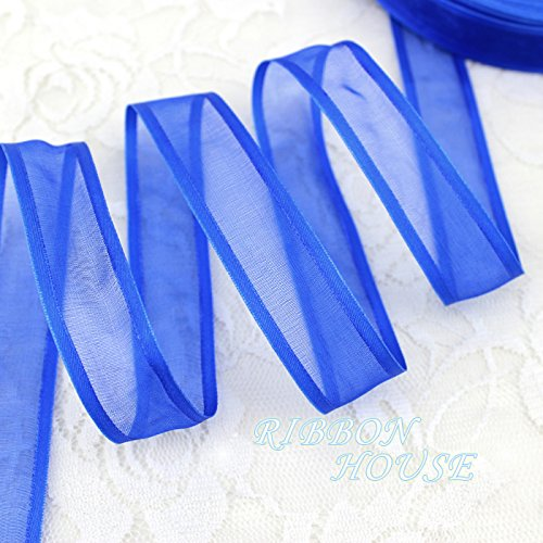 FunnyPicker (10 Yards/Lot) 3/4''(20Mm) Royal Blue Broadside Organza Ribbons Wholesale Gift Wrapping Decoration Ribbons