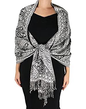 Elegant Double Layer Reversible Paisley Pashmina Shawl Wrap Scarf
