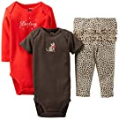 "Carter's Baby Girls' 3 Piece ""Take Me Away"" Set (Baby) - Darling - Red - 3 Months"