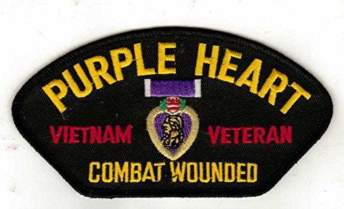 (Purple Heart Vietnam Veteran Combat Wounded HMC Black Hat Patch)