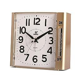Power Alarm Clock,Analog Clock, No Ticking Analog Clock,Simple to Set Clocks,with Nightlight and Snooze,Ascending Sound Alarm,Battery Powered (Golden)